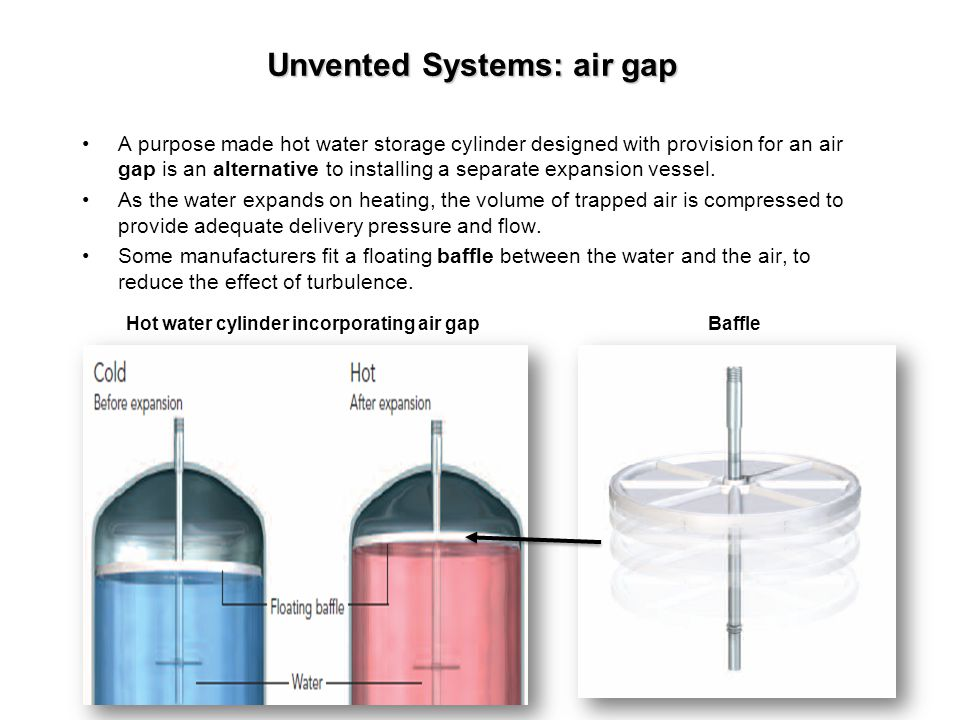 Unvented Systems: air gap