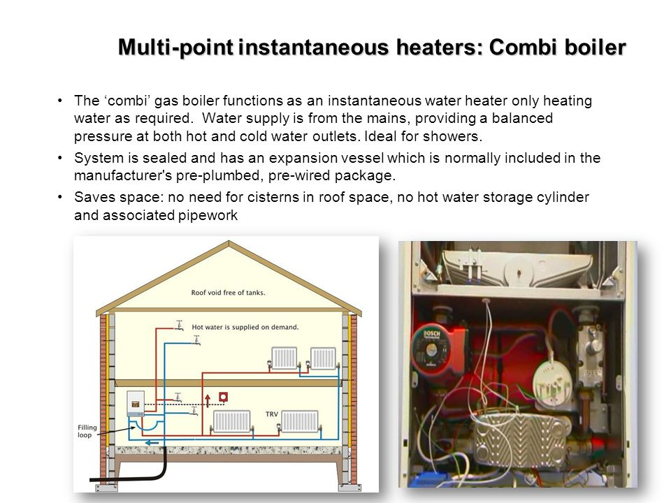 Multi-point instantaneous heaters: Combi boiler
