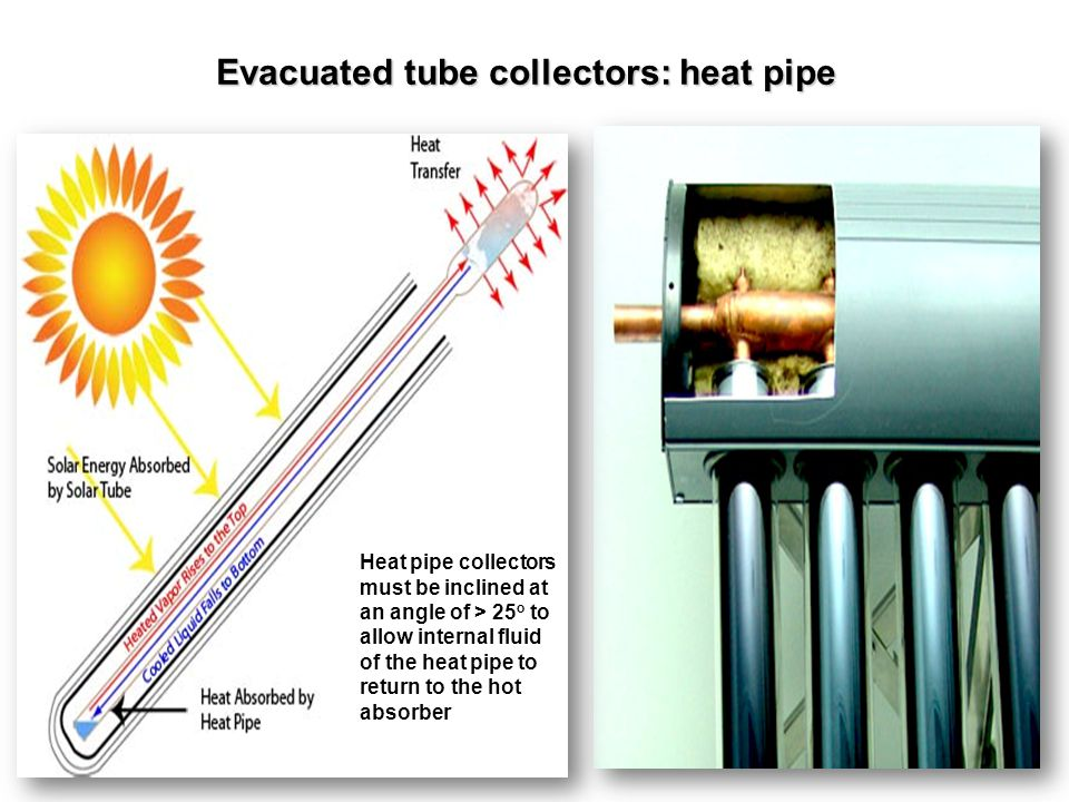 Evacuated tube collectors: heat pipe