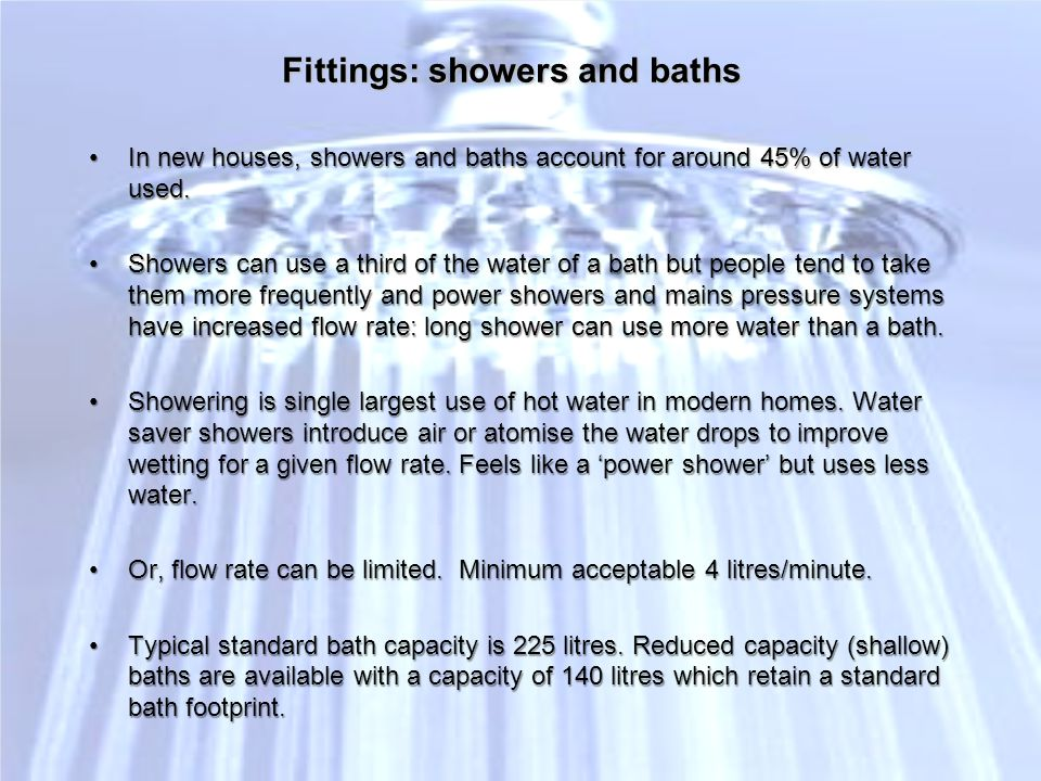 Fittings: showers and baths