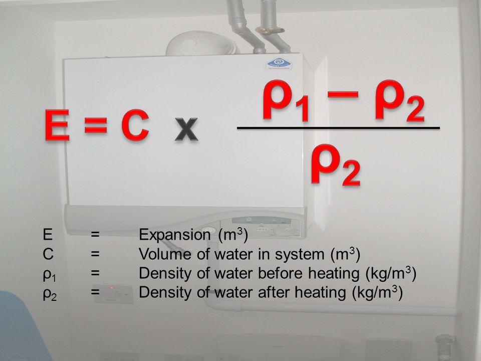 E = C x ρ2 ρ1 – ρ2 E = Expansion (m3)