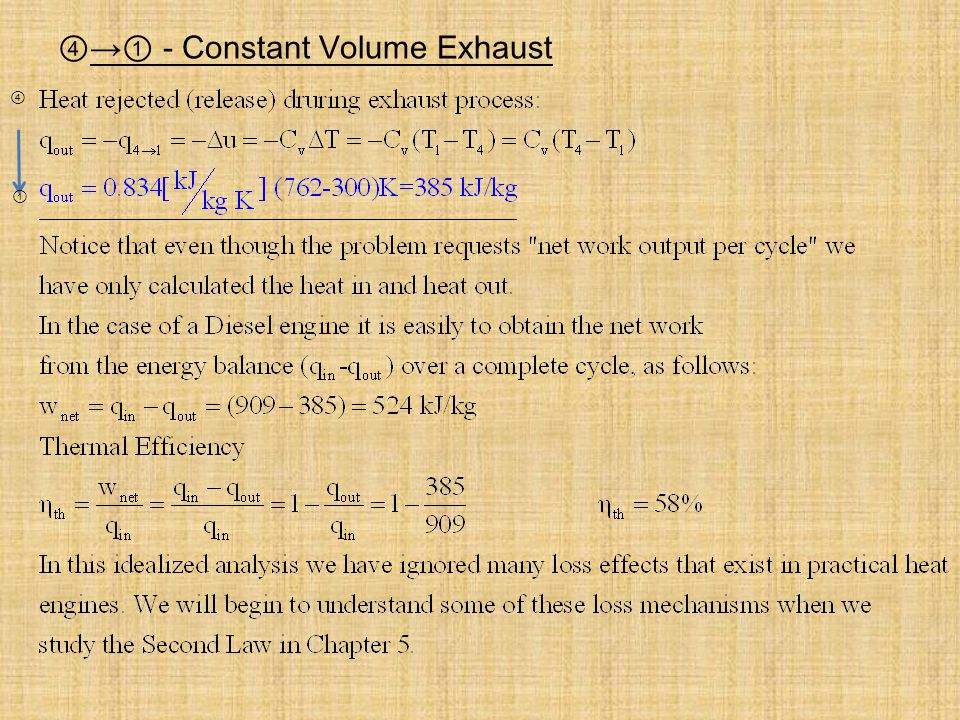 ④→① - Constant Volume Exhaust