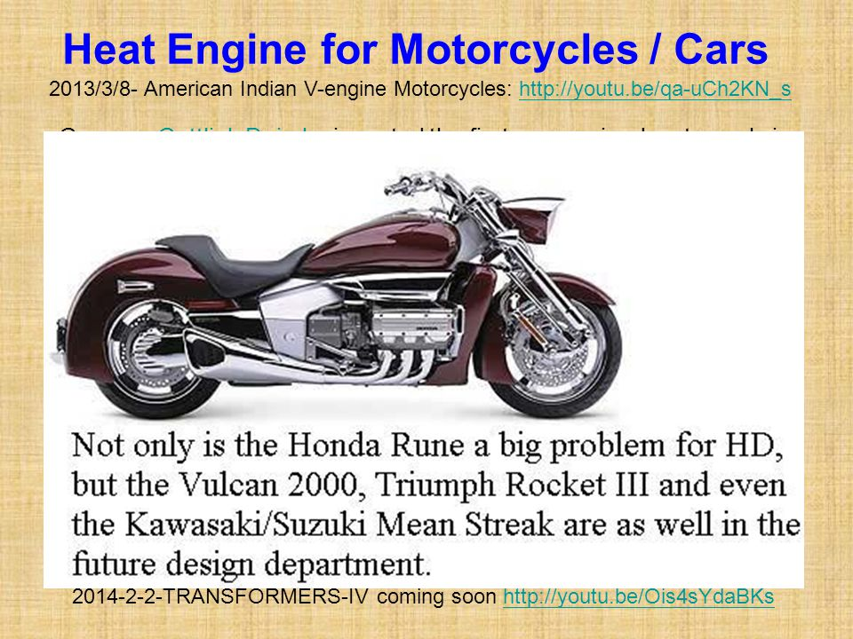 Heat Engine for Motorcycles / Cars