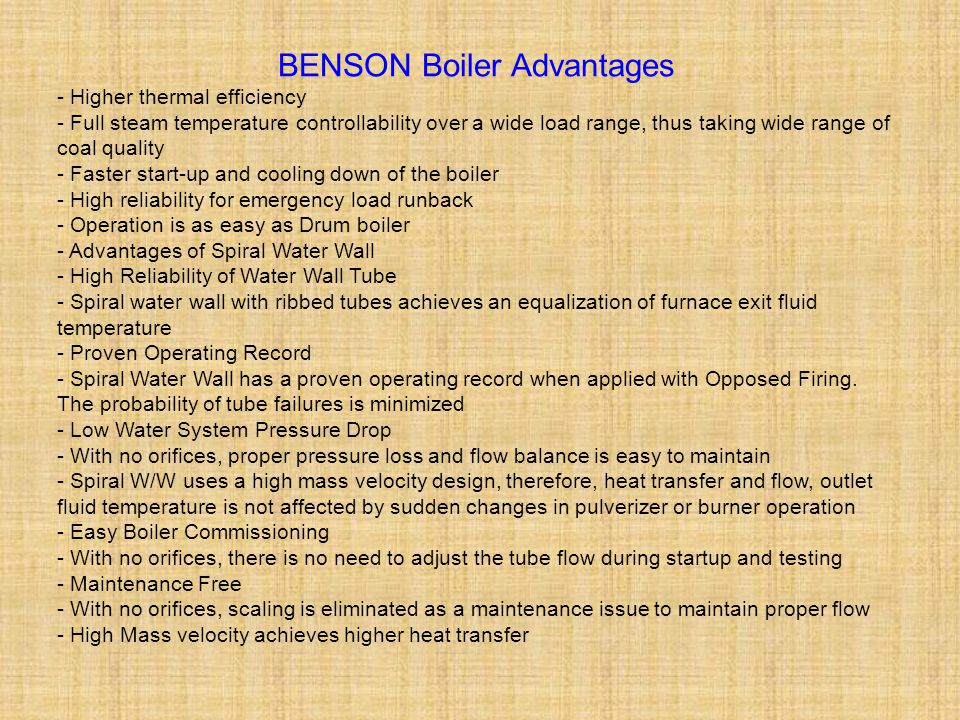 BENSON Boiler Advantages