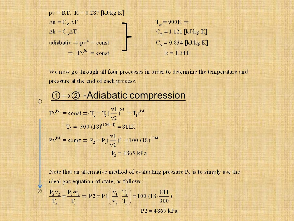 ①→② -Adiabatic compression