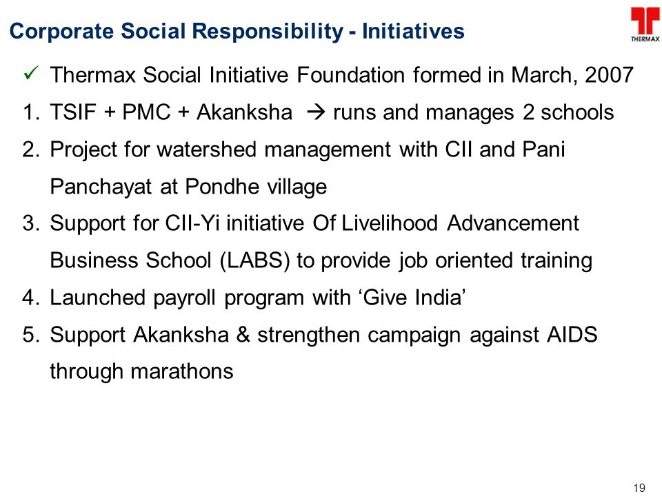 Corporate Social Responsibility - Initiatives