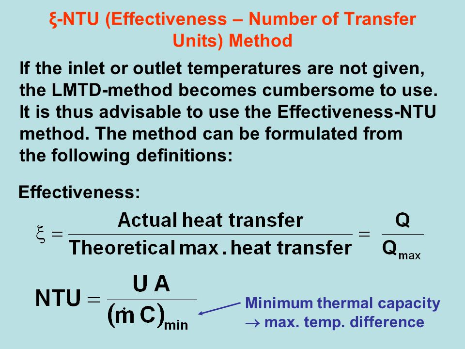 ξ-NTU (Effectiveness – Number of Transfer Units) Method