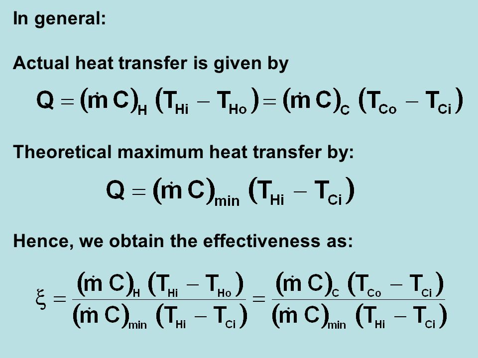 In general: Actual heat transfer is given by.