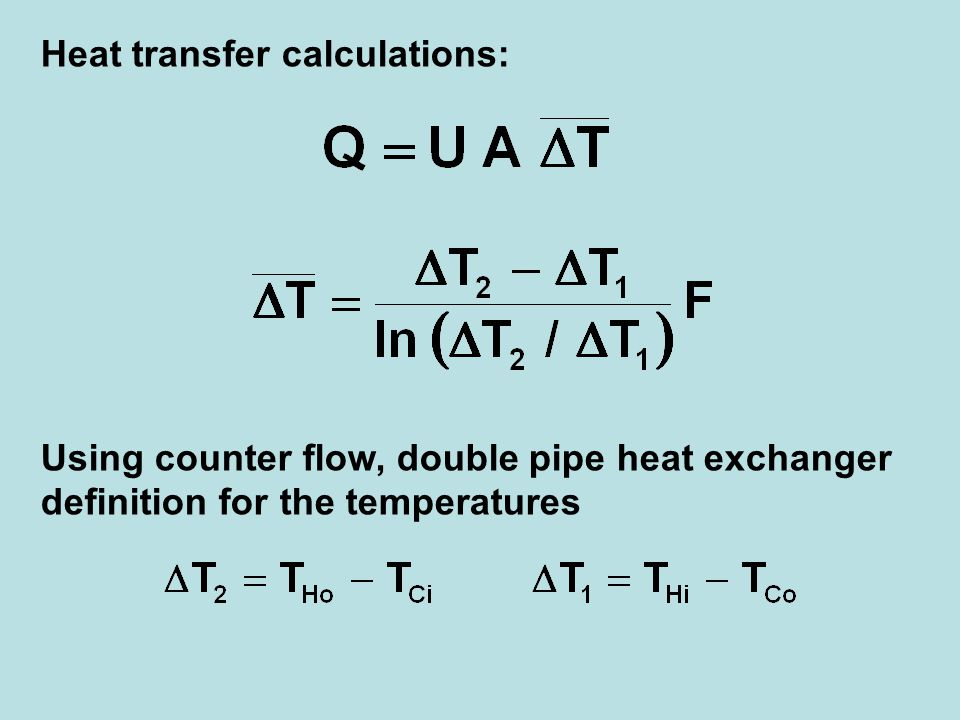 Heat transfer calculations: