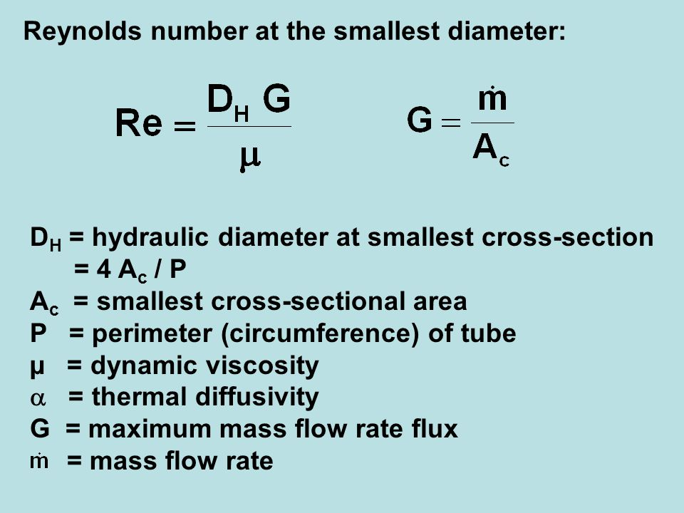 Reynolds number at the smallest diameter: