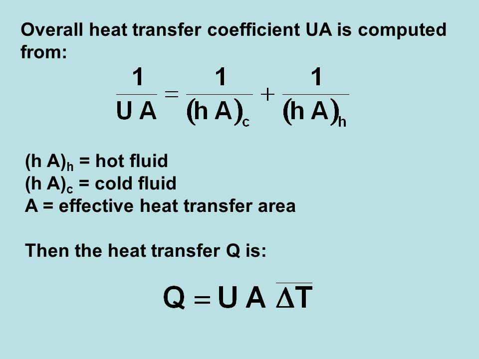 Overall heat transfer coefficient UA is computed from:
