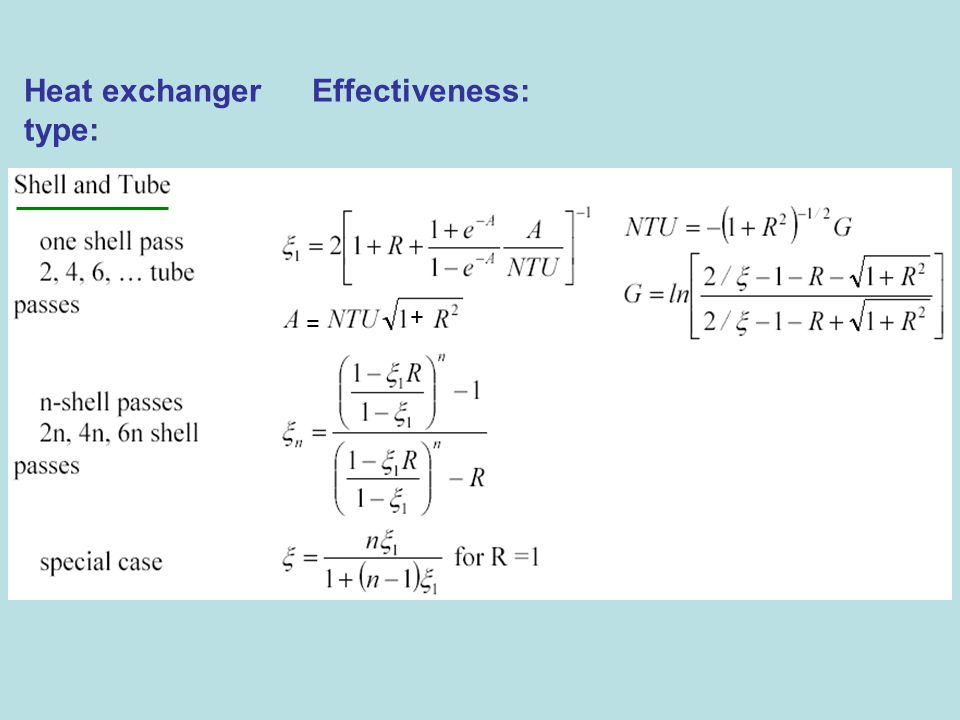 Heat exchanger Effectiveness: type: