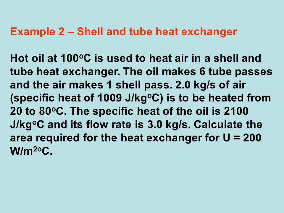Example 2 – Shell and tube heat exchanger