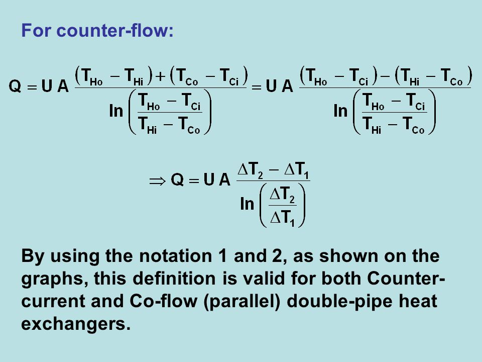 For counter-flow: