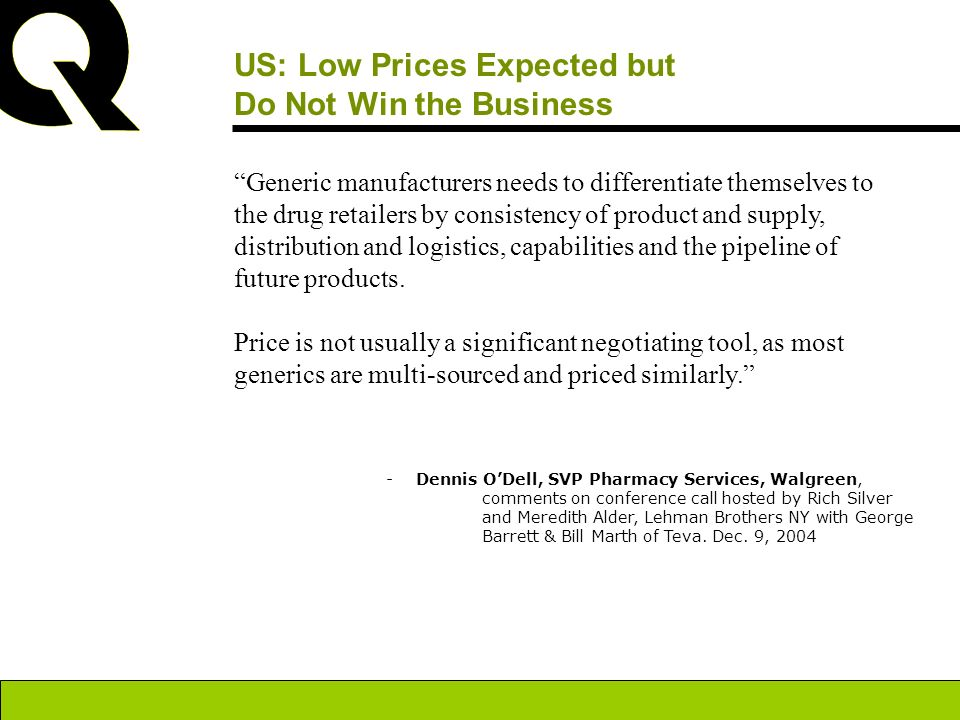 US: Low Prices Expected but Do Not Win the Business