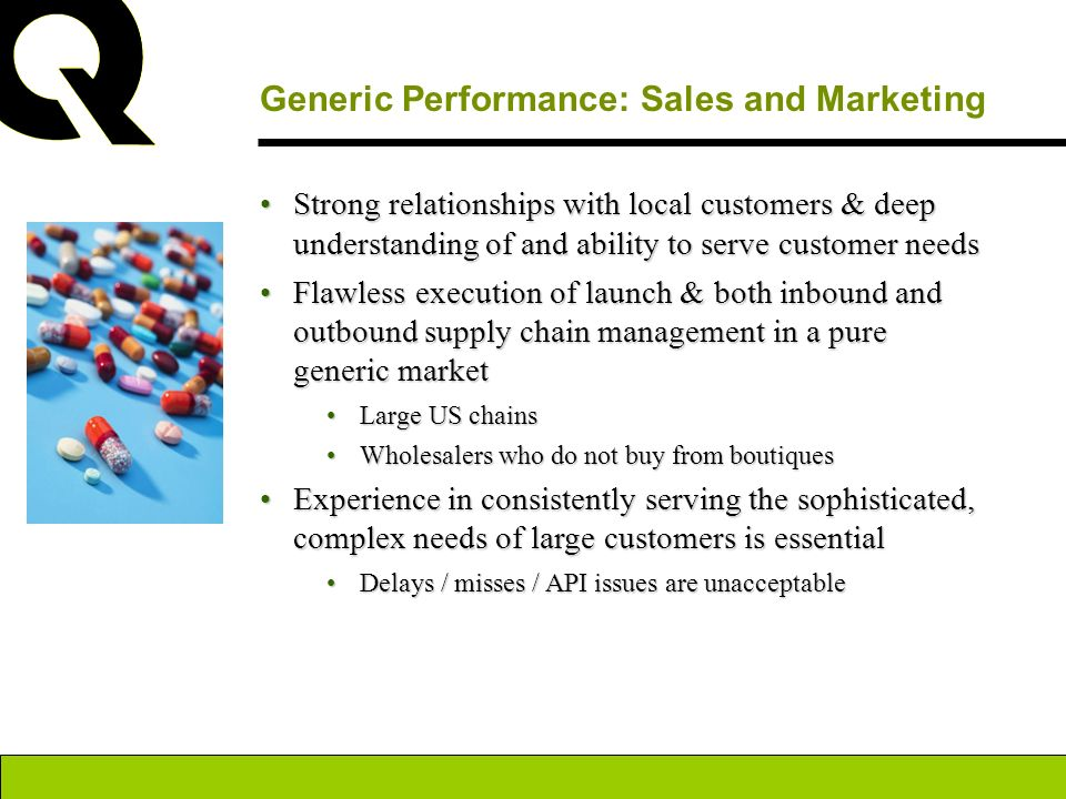 Generic Performance: Sales and Marketing