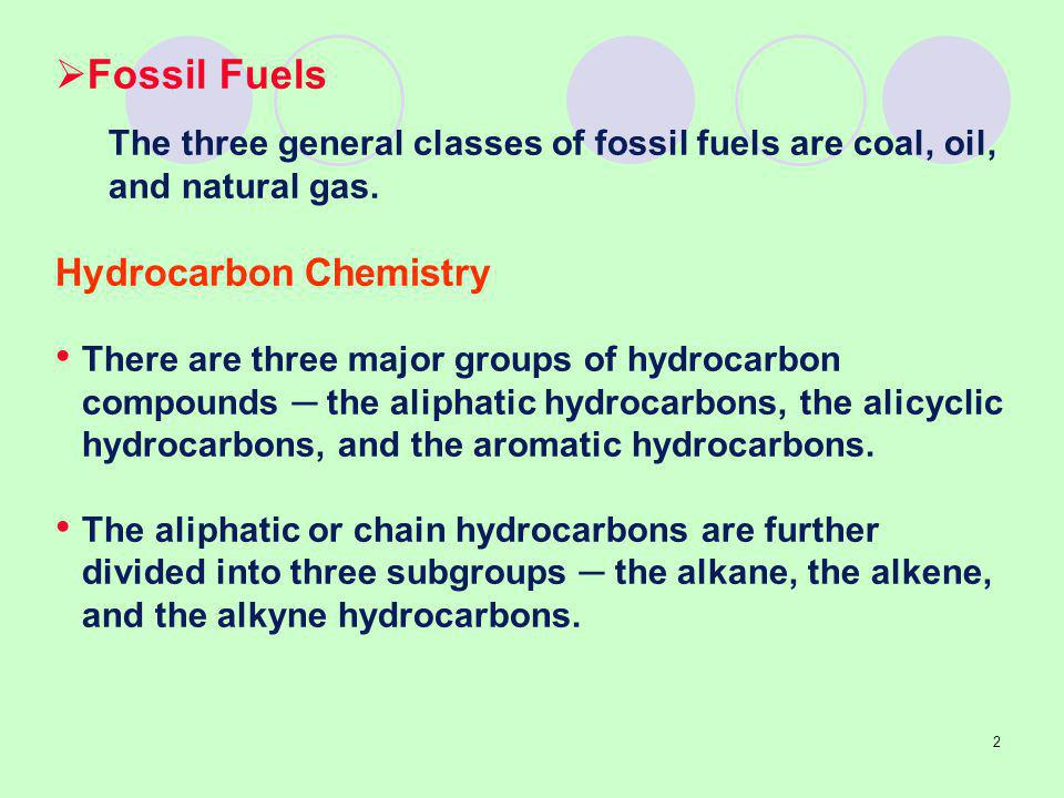 Fossil Fuels Hydrocarbon Chemistry