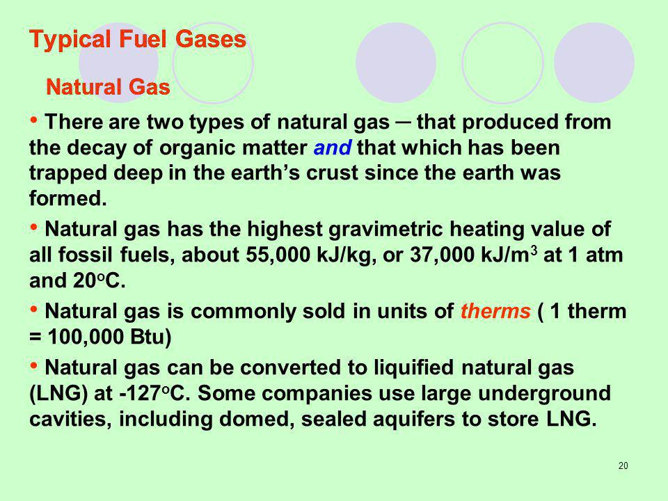 Typical Fuel Gases Natural Gas