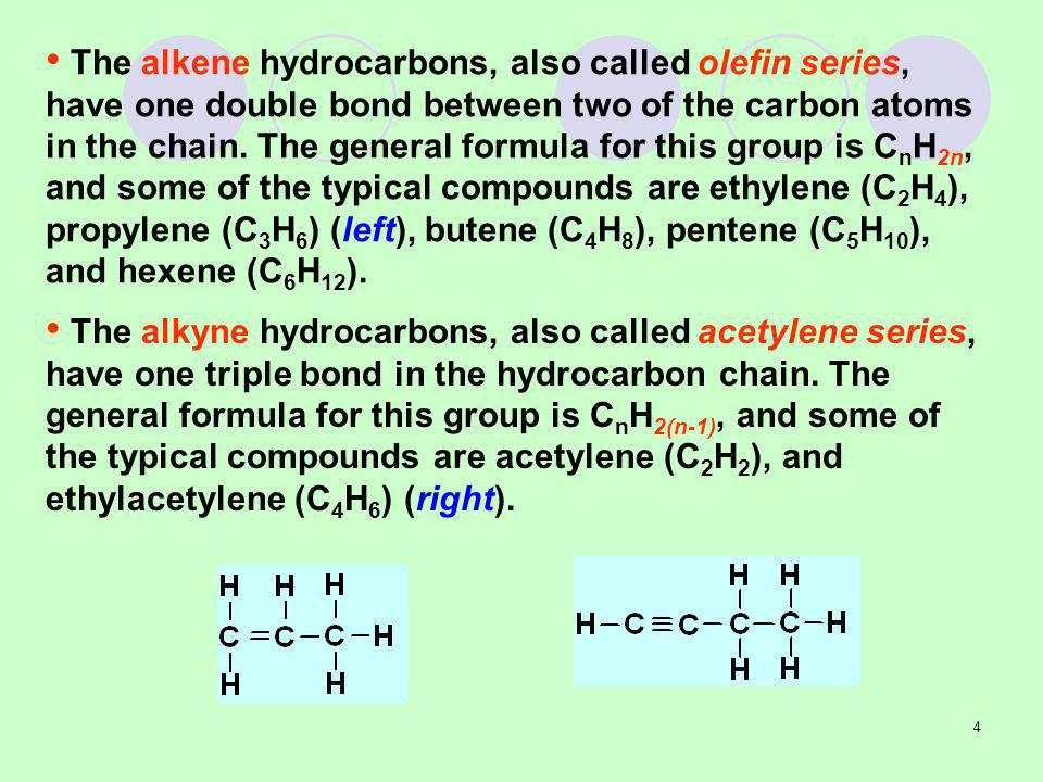 The alkene hydrocarbons, also called olefin series, have one double bond between two of the carbon atoms in the chain. The general formula for this group is CnH2n, and some of the typical compounds are ethylene (C2H4), propylene (C3H6) (left), butene (C4H8), pentene (C5H10), and hexene (C6H12).