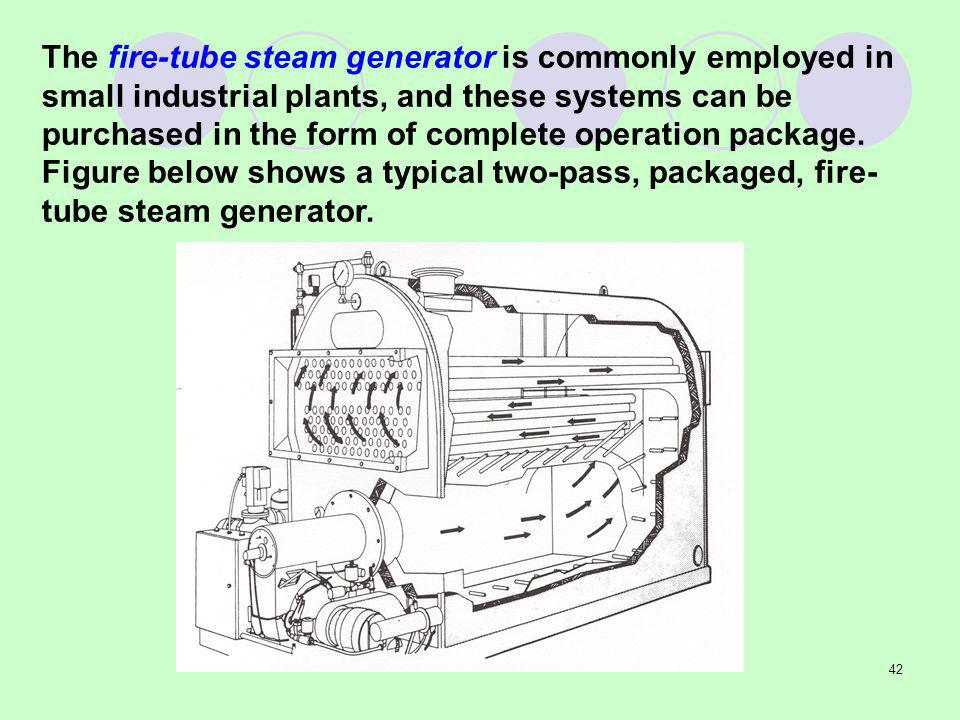 The fire-tube steam generator is commonly employed in small industrial plants, and these systems can be purchased in the form of complete operation package.
