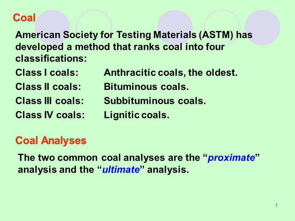 Coal American Society for Testing Materials (ASTM) has developed a method that ranks coal into four classifications: