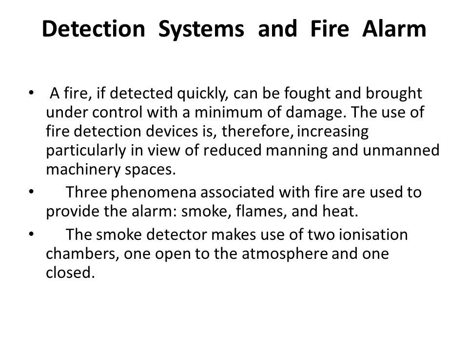 Detection Systems and Fire Alarm