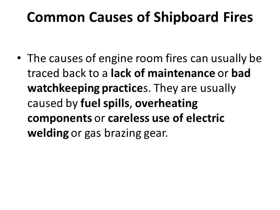 Common Causes of Shipboard Fires