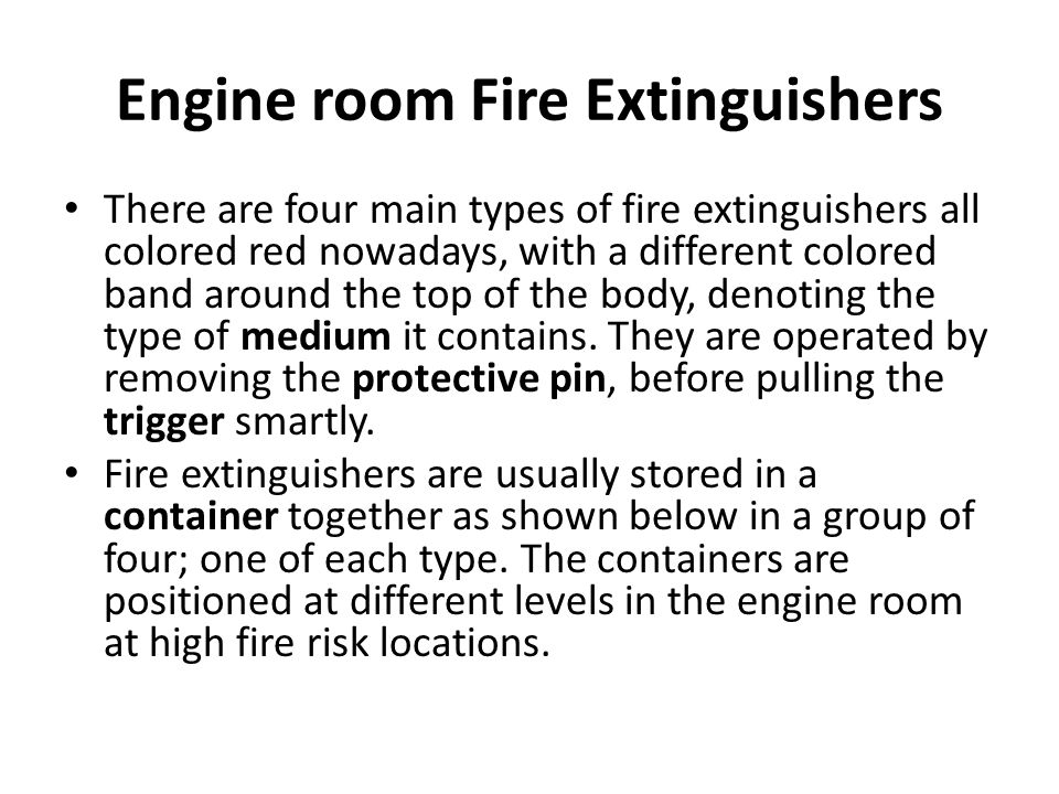 Engine room Fire Extinguishers