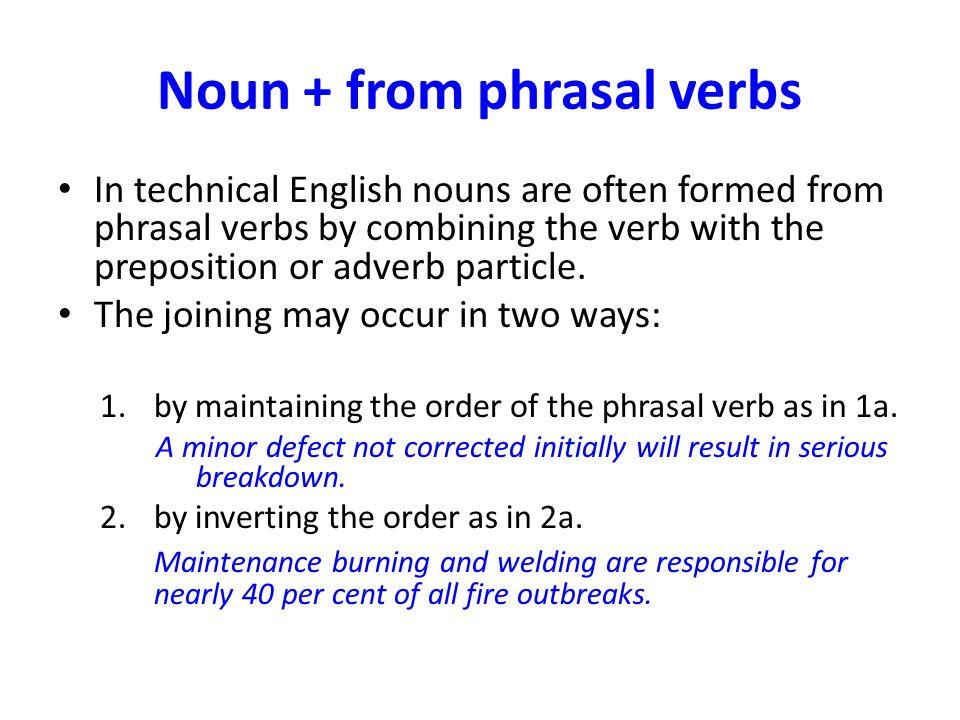 Noun + from phrasal verbs