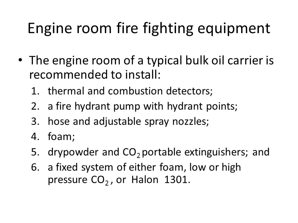 Engine room fire fighting equipment