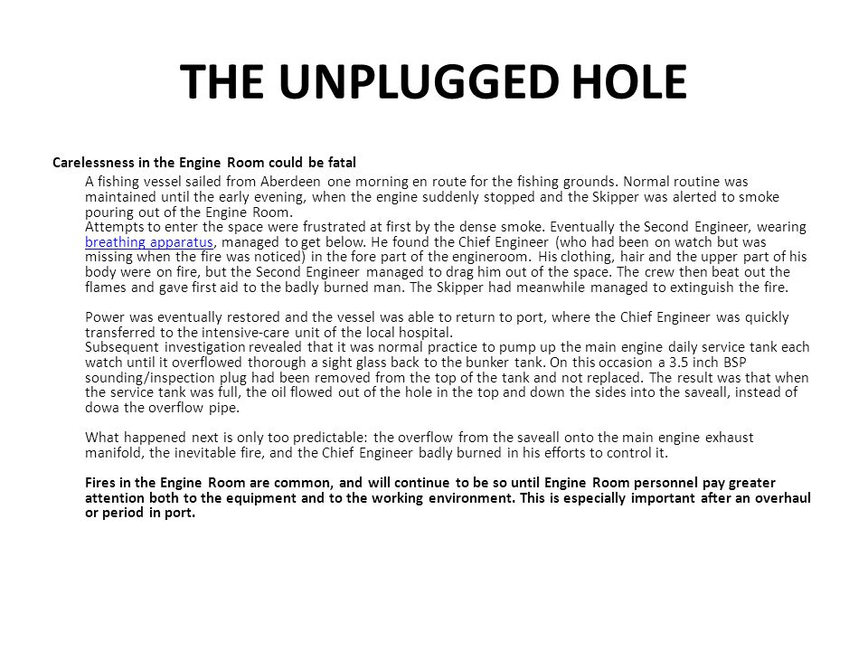 THE UNPLUGGED HOLE