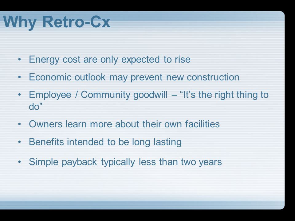 Why Retro-Cx Energy cost are only expected to rise