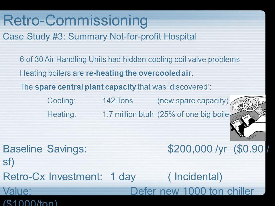 Retro-Commissioning Baseline Savings: $200,000 /yr ($0.90 / sf)