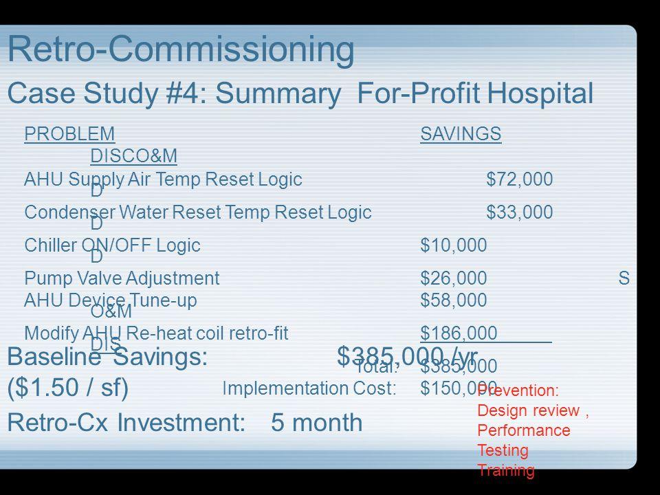 Retro-Commissioning Case Study #4: Summary For-Profit Hospital