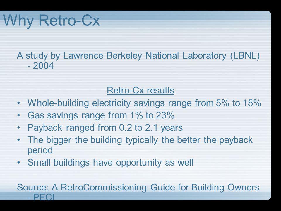 Why Retro-Cx A study by Lawrence Berkeley National Laboratory (LBNL) - 2004. Retro-Cx results.