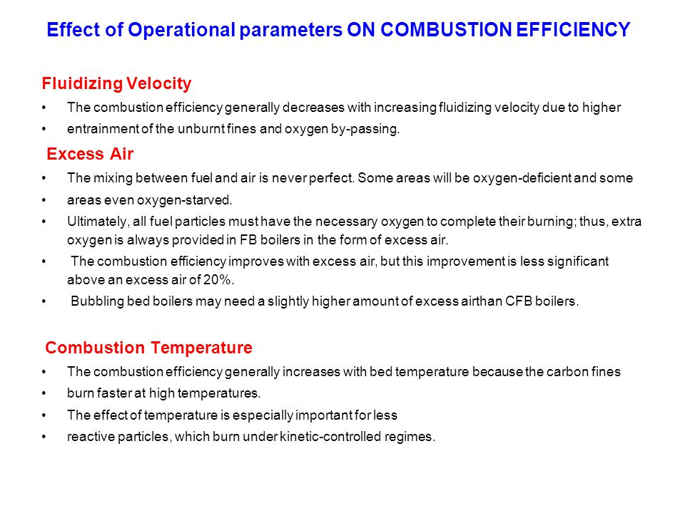 Effect of Operational parameters ON COMBUSTION EFFICIENCY