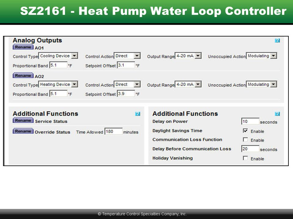 SZ2161 - Heat Pump Water Loop Controller