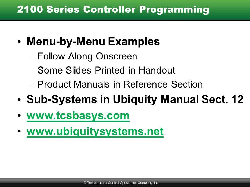 2100 Series Controller Programming