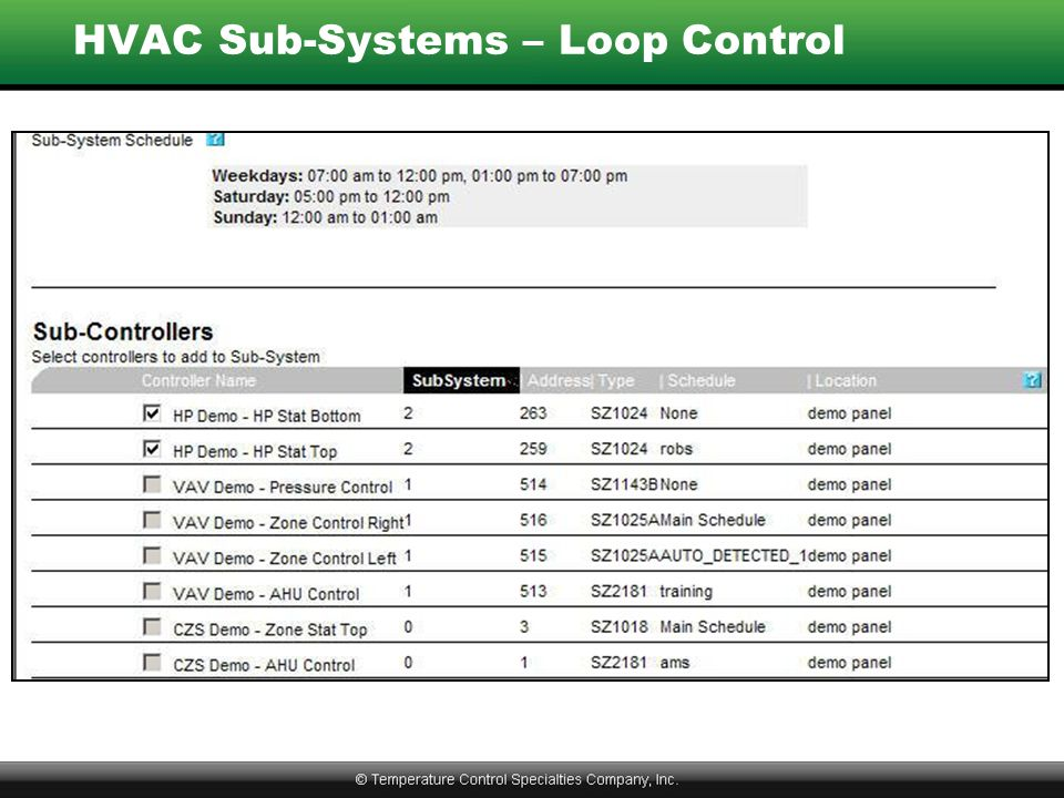 HVAC Sub-Systems – Loop Control