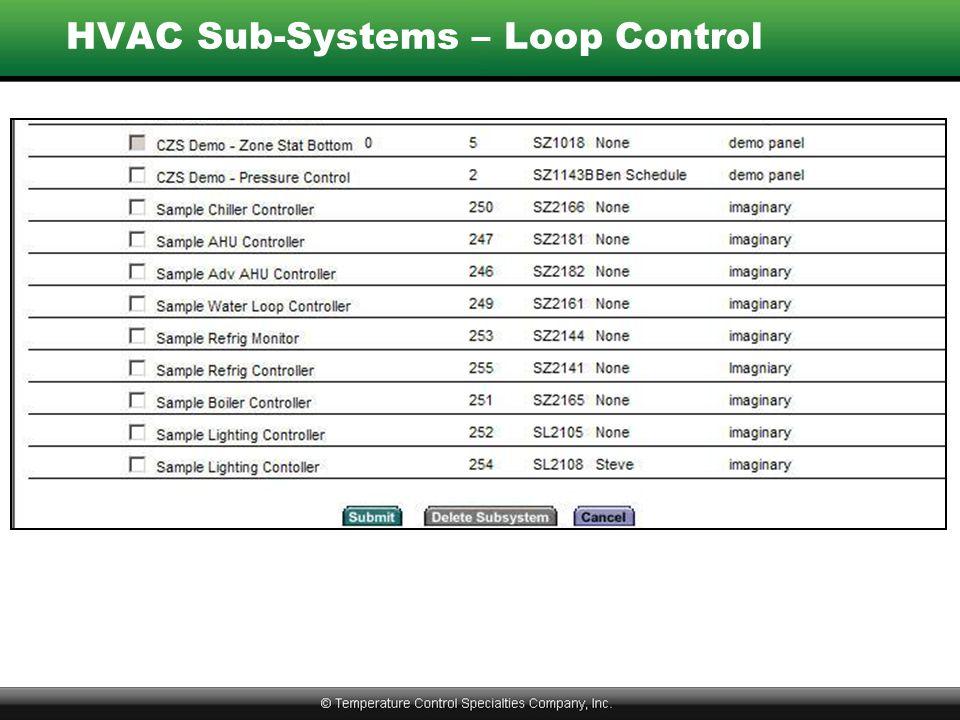 HVAC Sub-Systems – Loop Control