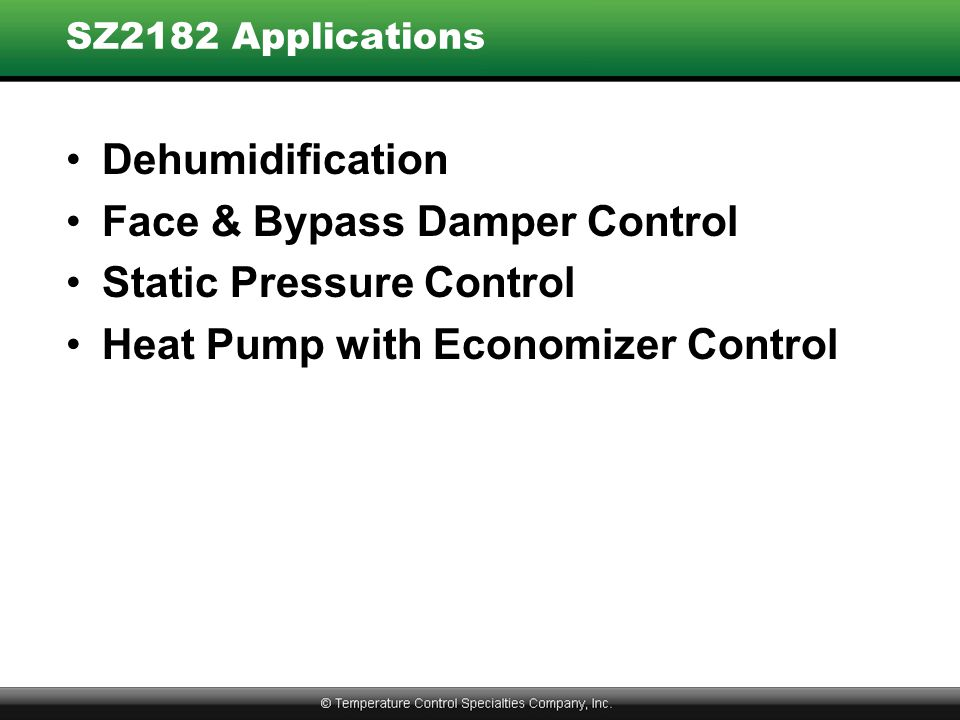 Face & Bypass Damper Control Static Pressure Control