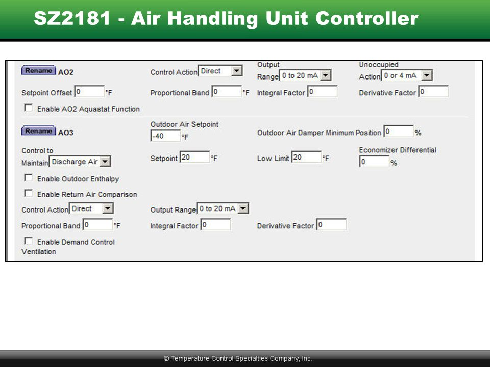 SZ2181 - Air Handling Unit Controller