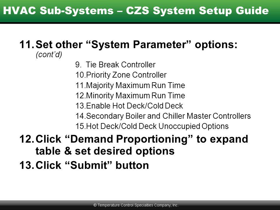 HVAC Sub-Systems – CZS System Setup Guide