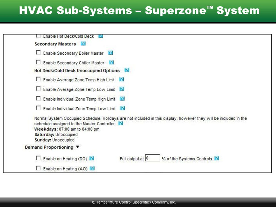 HVAC Sub-Systems – Superzone™ System