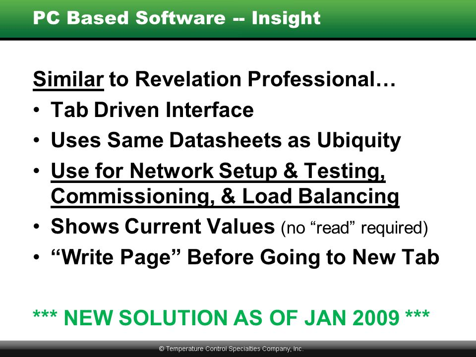 PC Based Software -- Insight