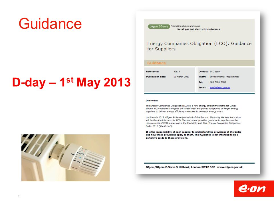 Guidance D-day – 1st May 2013