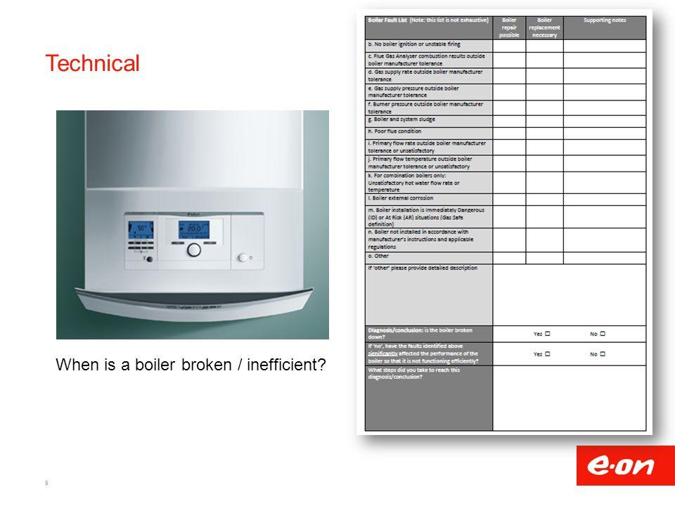 Technical When is a boiler broken / inefficient