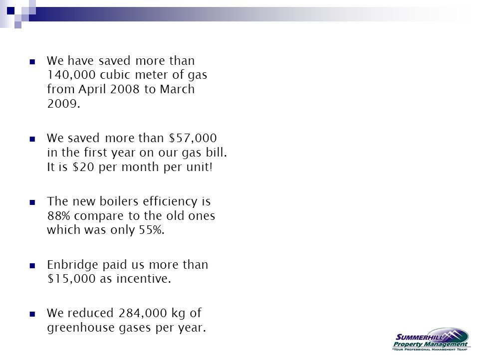 We have saved more than 140,000 cubic meter of gas from April 2008 to March 2009.
