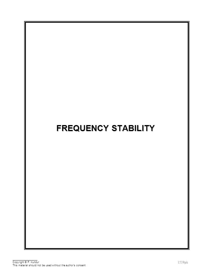 Frequency Stability Outline