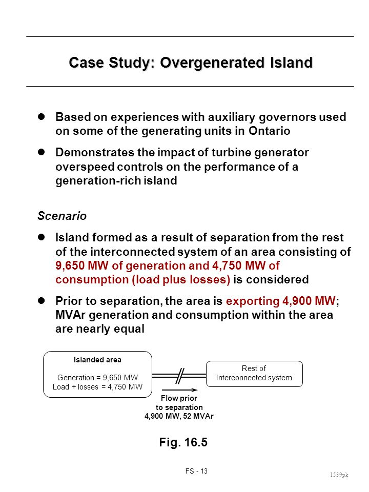 Case Study: (cont d) The area generation: Turbine governing systems: